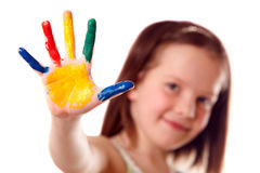 Free Eight Year Old Girl With Colorful Hand Royalty Free Stock Photos - 16618748