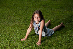 Eight years old girl. Portrait on the fresh air Royalty Free Stock Photo