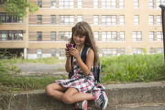 Eight years old school girl Royalty Free Stock Photo