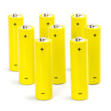 Eight yellow alkaline batteries Stock Photos
