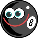 Eightball. Cute cartoon eightball pool ball with a happy smiling face Royalty Free Stock Photo