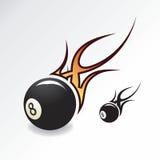 Eightball con la fiamma Immagini Stock