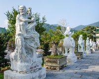 Eighteen Arhat statues at Linh Ung Pagoda in Danang, Vietnam Royalty Free Stock Image