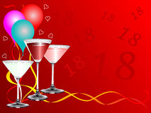 Eighteen Birthday Celebration Background. An eighteenth birthday party background template with drinks glasses and balloons. The additional format is an EPS Stock Image