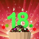 Eighteen Candle On Cupcake Means Eighteenth. Eighteen Candle On Cupcake Meaning Eighteenth Birthday Cake Or Celebration Stock Images