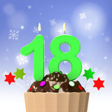 Eighteen Candle On Cupcake Shows Teen Birthday. Eight teen Candle On Cupcake Showing Teen Birthday Celebration Or Party royalty free illustration