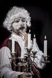 Eighteen century, gentleman rococo era wig. Gentleman rococo era wig, man dressed in vintage Stock Photo