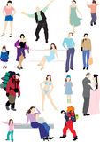 Eighteen colored silhouettes of people. Vector and raster version Royalty Free Stock Photos