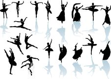 Eighteen dancers with reflection royalty free stock photo