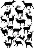Eighteen deer silhouettes Royalty Free Stock Photography
