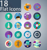 Eighteen Flat icons. Flat icons that can be used in the design of web pages Stock Photo