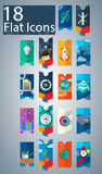 Eighteen flat icons. Flat icons that can be used in the design of web pages Royalty Free Stock Photos