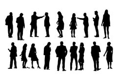 Eighteen people silhouettes Royalty Free Stock Photos