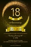 18th anniversary logo with confetti golden colored isolated on black background vector illustration