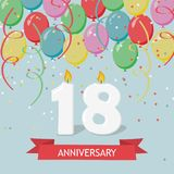 Eighteen years anniversary greeting card with candles. Confetti and balloons Royalty Free Stock Images