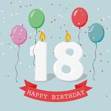 Eighteen years anniversary greeting card with candles. Confetti and balloons Royalty Free Stock Photos