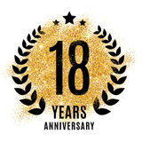 Eighteen years golden anniversary. Sign. Gold glitter celebration. Light bright symbol for event, invitation, award, ceremony, greeting. Laurel and star emblem Stock Images