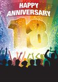 Eighteenth anniversary. Colorful crowd of cheering people celebrating eighteenth anniversary Royalty Free Stock Photo