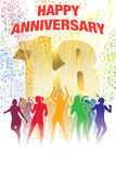 Eighteenth anniversary. Colorful crowd of dancing people celebrating eighteenth anniversary Stock Images