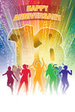 Eighteenth anniversary. Colorful crowd of dancing people celebrating eighteenth anniversary Stock Photography
