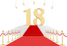Eighteenth birthday. Number eighteen on the red carpet isolated on white - rendering Royalty Free Stock Photos