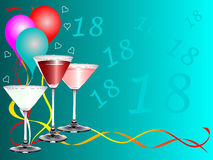Eighteenth Birthday Card Template. An eighteenth birthday party background template with drinks glasses and balloons. The additional format is an EPS vector Stock Photo