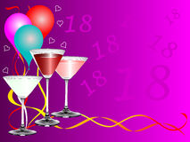 Eighteenth Birthday party Background Template. An eighteenth birthday party background template with drinks glasses and balloons. The additional format is an EPS Royalty Free Stock Photography