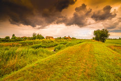 Eighteenth-century church in bucolic landscape. Of the countryside of Romagna in Italy Stock Photos