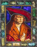 Eighteenth century stained glass window. From Germany with an aristocratic gentleman in center Royalty Free Stock Photography