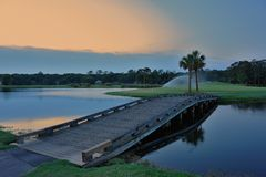 Eighteenth Green. Golf course bridge to the 18 green Royalty Free Stock Photo