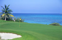 Eighteenth Hole. The final hole at a tropical golf course Stock Image