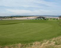 Eighteenth hole at st andrews. The eighteenth hole at the famous st andrews golf course in scotland stock photography
