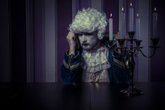 Eighteenth man dressed in rococo style, concept of wealth and po Stock Images