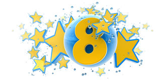 Eighth anniversary blue and yellow vector illustration