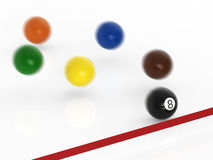 Eighth ball moving to finish line. Winner concept with eighth ball moving to finish line Royalty Free Stock Photos