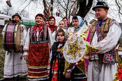 Eighth Ethnic Festival Christmas Carols in the old village. Uzhgorod, Ukraine - January 13, 2018: Folklore collective performs during the eighth ethnic festival royalty free stock images