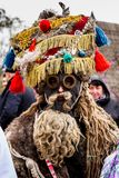 Eighth Ethnic Festival Christmas Carols in the old village. Uzhgorod, Ukraine - January 13, 2018: Member of Children`s folklore group performs during the eighth royalty free stock photos