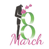 Eighth of March. Date of international women's day the eighth of March stock illustration