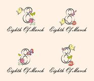 Eighth of march vintage. The illustration dedicated to the eighth of March - Womens Day Royalty Free Stock Photo
