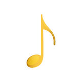 Eighth note in golden with background white Royalty Free Stock Image