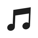 Eighth note icon. Flat design of musical eighth note icon  illustration Royalty Free Stock Photo