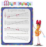 Eighth note 2. Music lessons, exercises for children. development of skills for writing and drawing. Handwriting Practice Worksheets. Draw a eighth note Royalty Free Stock Photography