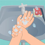 Eighth stage of washing hands. Washing hands is enough to limit wrist. Rub your wrist and then vice versa royalty free illustration