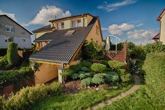 Eighties architecture in Poland home and garden Stock Image