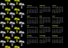 Eighties Calendar. 2016 calendar with a palm tree pattern in black, neon yellow and white, 80's retro style. Week starts on Sunday Vector Illustration