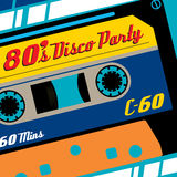 Eighties Disco Party Cassette Tape Banner. Stock Images