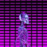 Eighties neon disco headphone skeleton stock photo