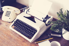 Eighties office desk retro colored Royalty Free Stock Images