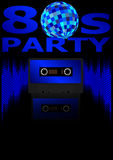 Eighties Party Background. Retro Audio Cassette Tape, Equalizer in Shades of Blue and 80s Party Sign - Vector royalty free illustration