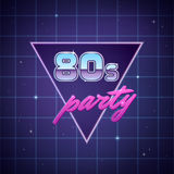 Eighties Party Background. 80s retro party poster template on neon sci-fi background. Vector illustration Stock Images